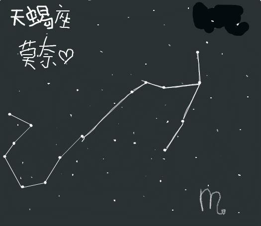 女性背部星空小天蝎纹身图案