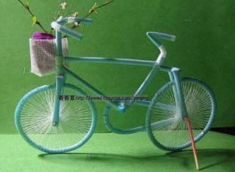 用吸管做自行车图解; 【小沫】手工贴; 用吸管做手工图片;