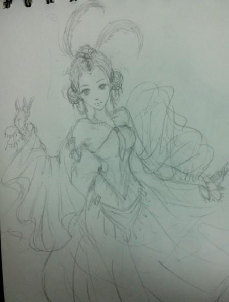 铅笔手绘古风舞女