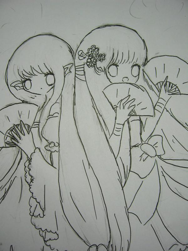 可爱的小萌妹素描简笔画