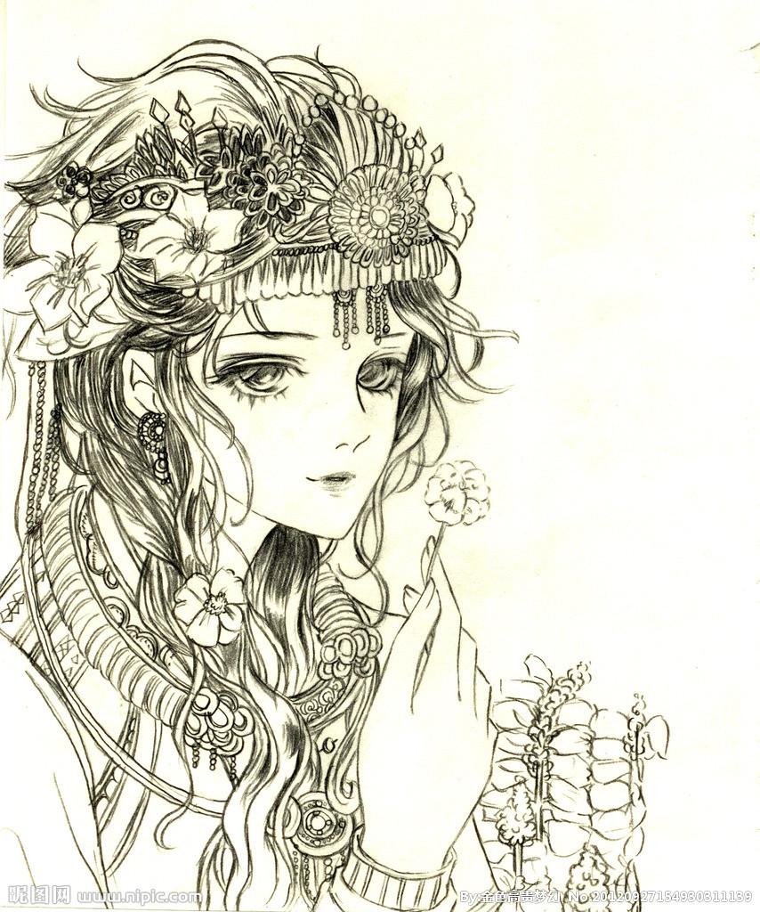 古装贵妃简笔画