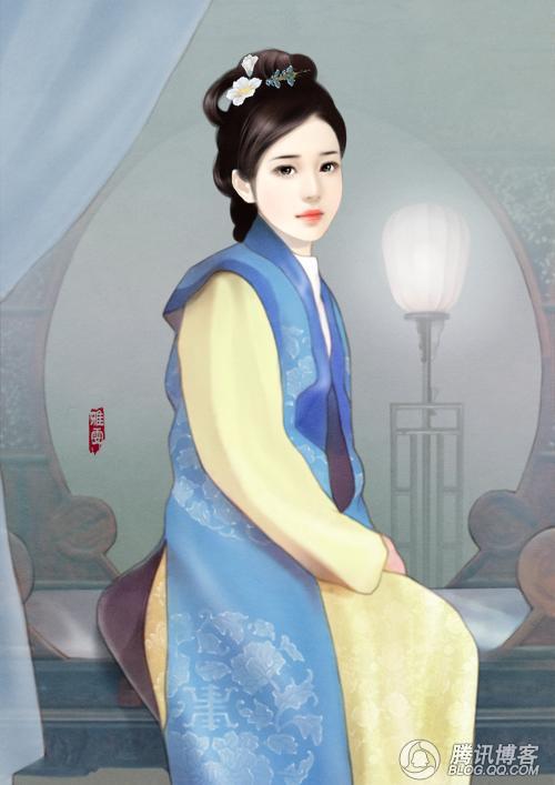 手绘古装皇妃子