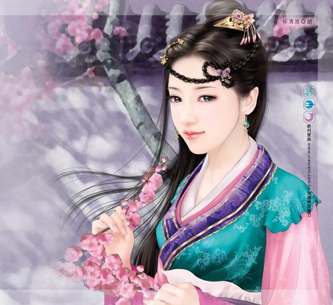 古代女子手绘丹青轻柔