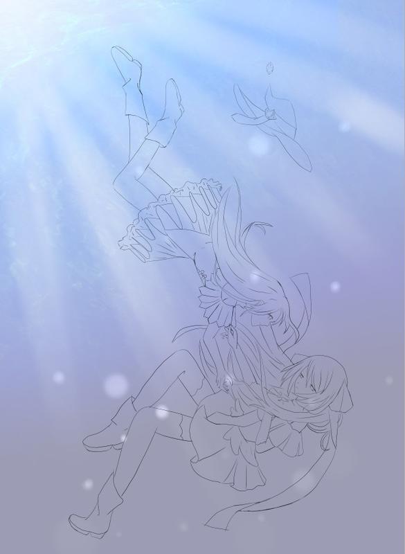 撸完了线稿,然后开始描苍蓝的头发的时候才想起来好有个蝴蝶结