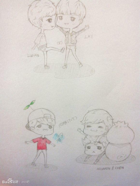 鹿晗和小小鹿手绘图片