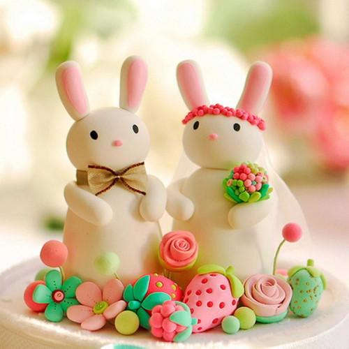 蛋糕盘手工制作图片兔子