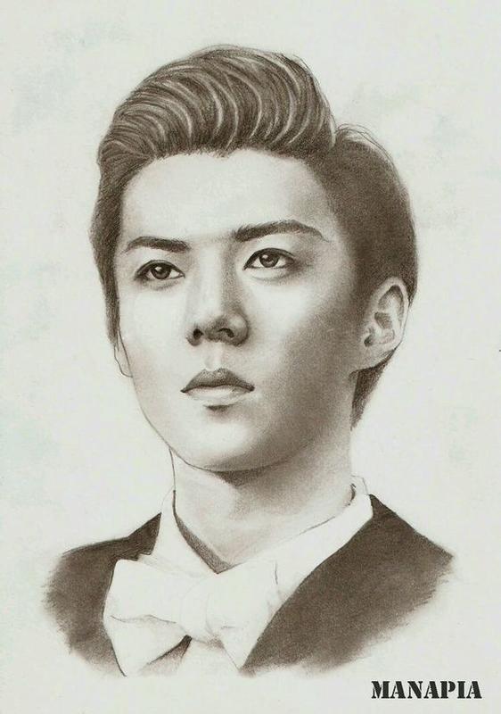 铅笔画明星exo