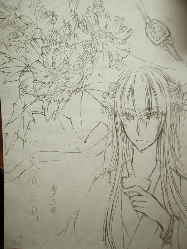 古风美男黑白手绘铅笔画 荷花牡丹