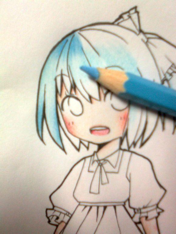 彩铅动漫人物手绘头发简单