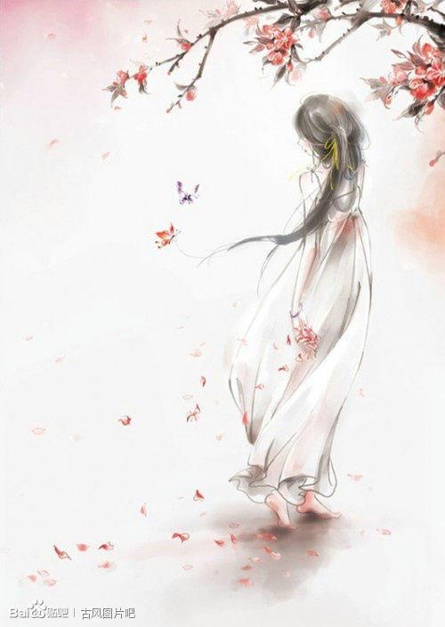 手绘红装古风女子背影图