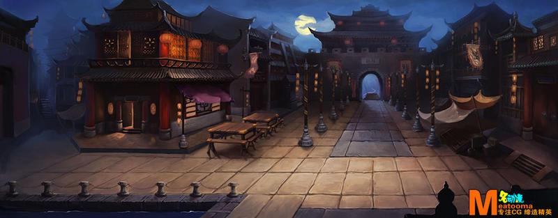 古风风景图片夜晚
