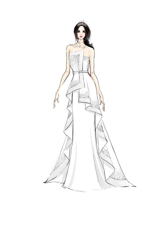 【木槿】超美的手绘晚礼服,好想有一套有木有!